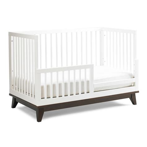 Modern Snow White Convertible Island Crib With Espresso Base Crib Mattress Base