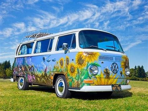 volkswagen van hippie blue paint schemes and clouds painted up hippie volkswagen bus