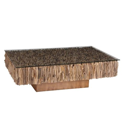 rectangular driftwood coffee table on base