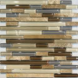 glass mosaic tile kitchen backsplash sle marble stone brown beige cream linear glass