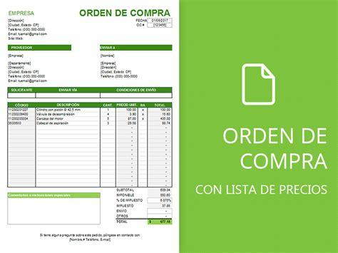 formulario orden de compra formato orden de compra