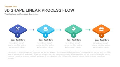 3d Shape Linear Process Flow Powerpoint And Keynote Process Flow Powerpoint Template