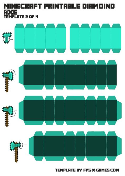 Minecraft Papercraft Templates - free coloring pages of a minecraft picaxe