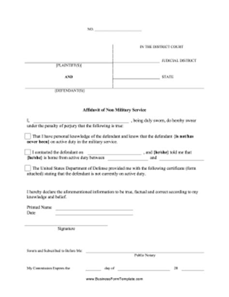 Affidavit Of Non Service Template Affidavit Of Non Military Service Template