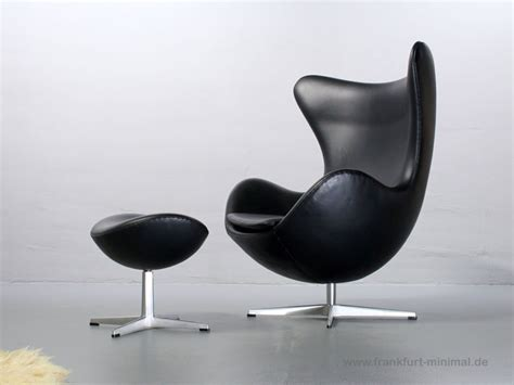 Chair Ottoman Sold Fritz Hansen Arne Jacobsen Egg Chair Leder Schwarz