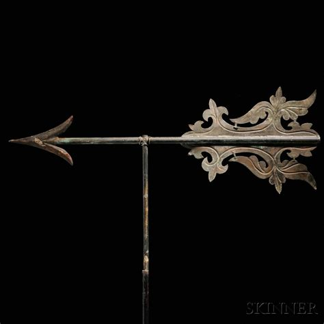 copper bannerette weathervane embossed sheet copper and iron arrow bannerette