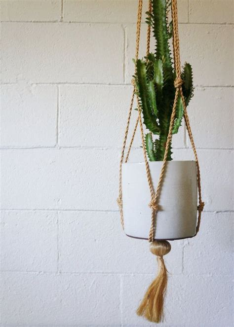 Hanging Macrame Plant Holder - vintage macrame hanging plant holder