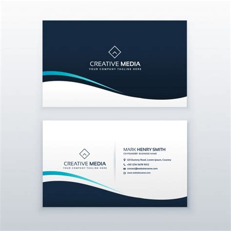 business card template wavy simple wavy business card design vector free