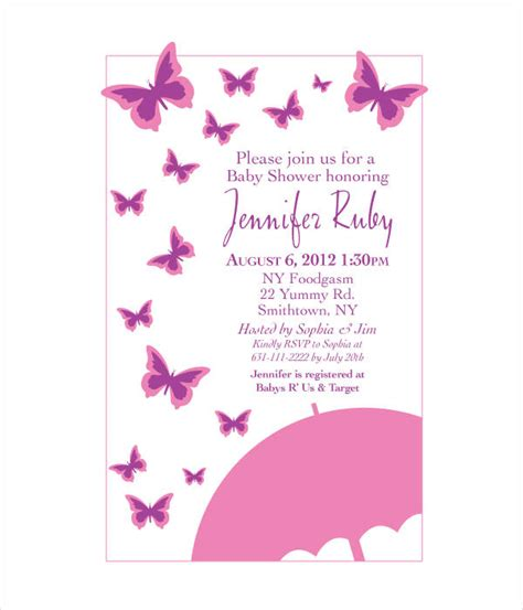 Butterfly Baby Shower Invitations Printable Free by Butterfly Invitation Templates 9 Free Psd Vector Ai