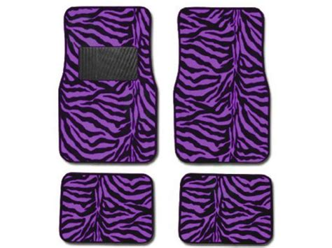 Zebra Floor L A Set Of 4 Universal Fit Animal Print Carpet Floor Mats For Cars Truck Zebra Purple Health