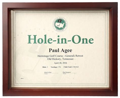 hole in one shadow box certificate frame only 45 00