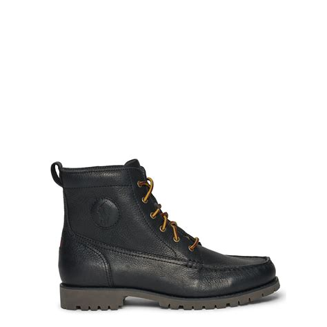 black polo boots polo ralph rodway leather work boot in black for
