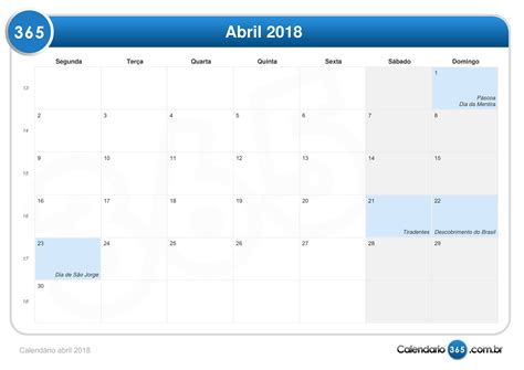 Calendario 2019 Pascoa Calend 225 Abril 2018