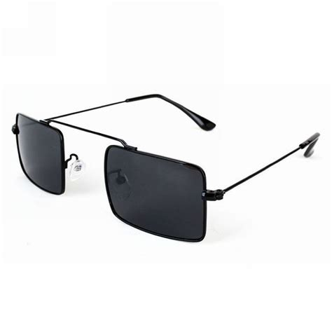 Square Metal Glasses small square wire unisex sunglasses metal black frame grey