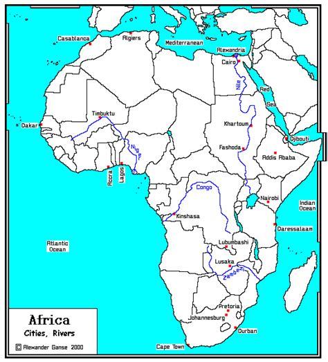 africa map major cities africa major cities