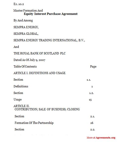 Equity Interest Purchase Agreement Sle Equity Interest Purchase Agreementagreements Org Equity Purchase Agreement Template