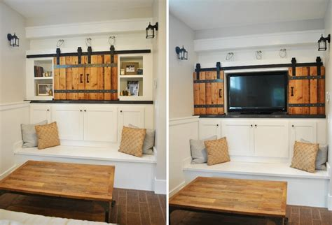 tv cabinet with sliding doors to hide tv 50 ways to use interior sliding barn doors in your home