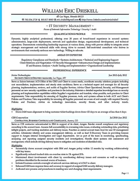Information Technology Auditor Sle Resume by A Concise Credential Audit Resume