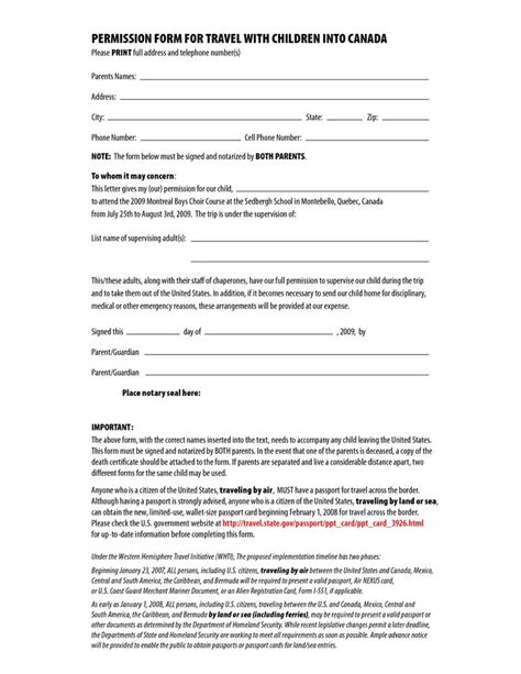 Parental Consent Letter Air Canada Permission Form For Travel With Children Into Canada By Csgirla Letter Of Permission To Travel
