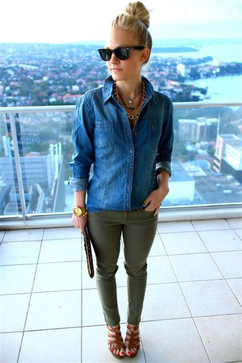 how to wear printed pantstrousers fall2013 pinterest pair olive pants with a chambray top for a polished