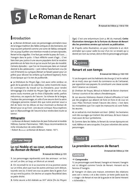 Renart Resume by 171724 Ch5 Corrige De Renart