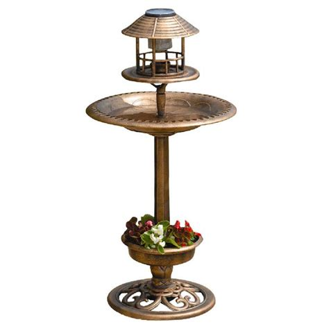 greenhurst tulip resin bird bath feeder with solar light