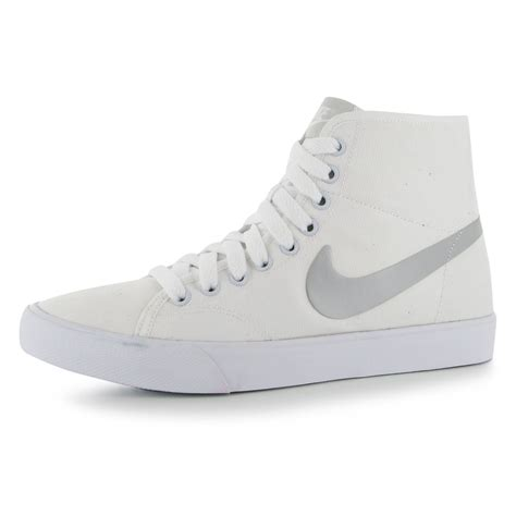 nike primo canvas high top casual trainers womens white