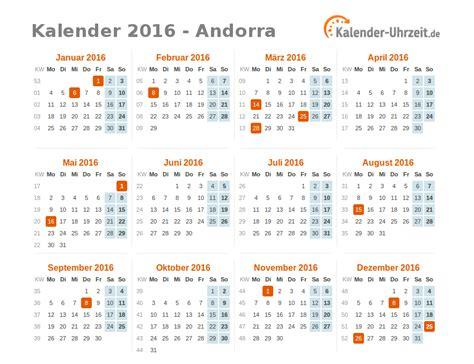 Freitag Kalender 2016 Feiertage 2016 Andorra Kalender 220 Bersicht