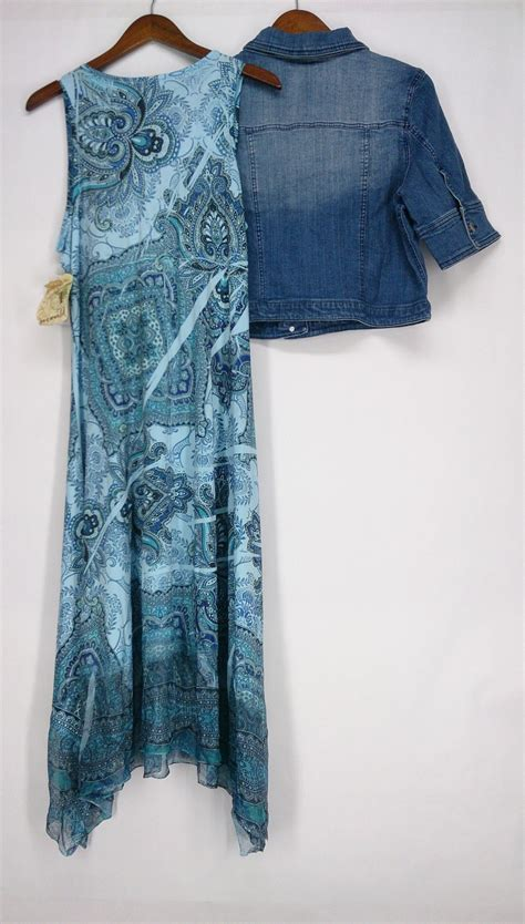 Set Cantika Maxi Denim one world sz l printed sharkbite maxi dress denim jacket