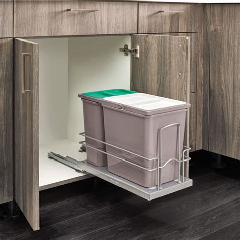 under sink double trash pull out bottom mount under sink double trash bin pull out with 15
