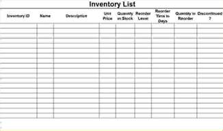 Inventory List by 6 Inventory Checklist Template Procedure Template Sle