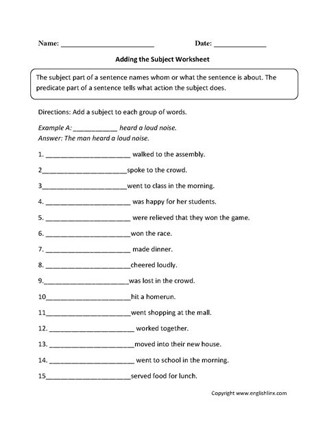 17 best images of subject predicate worksheet grade 3