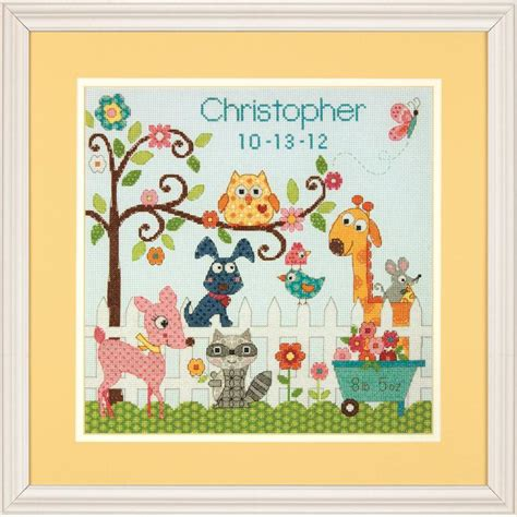 Cross Stitch Birth Records Dimensions Happy Backyard Counted Cross Stitch Birth Record Kit Hobbycraft