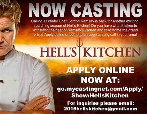 online casting call for hells kitchen 2017 season