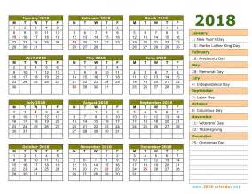 Calendar 2018 For Rooms Printable 2018 Calendar