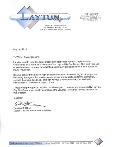 Carpenter Reference Letter Sle Free Letters Of Recommendation Kaydee Carpenter Portfolio