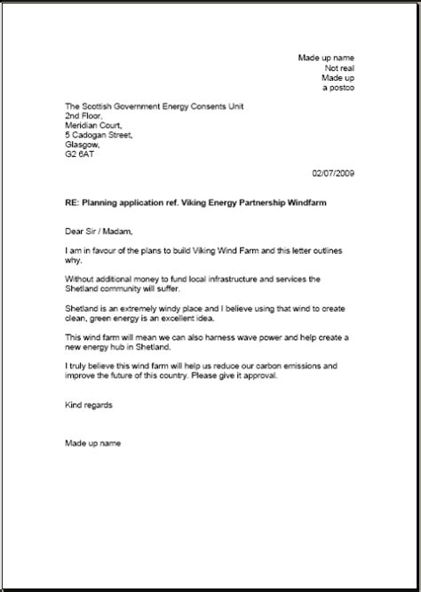 Support Letter For Planning Application Sustainable Shetland Viking Energy Computer Generated Support Letters