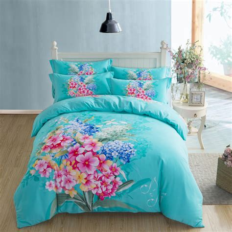 Turquoise King Bedding Sets Beautiful Floral Turquoise Or Violet Bedding Set King Size Quilt Cover Pillowcase