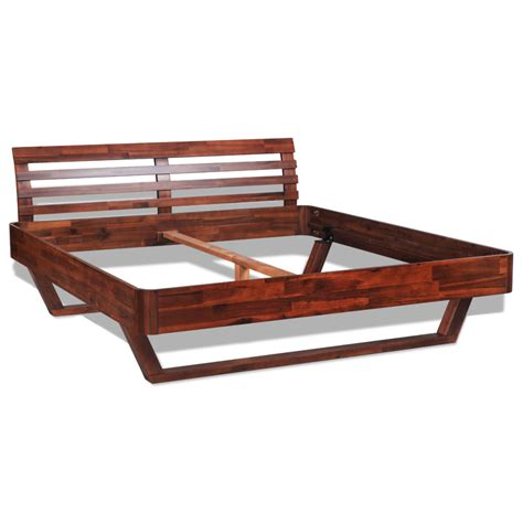queen size wooden bed frame vidaxl solid acacia wood bed frame queen size vidaxl com