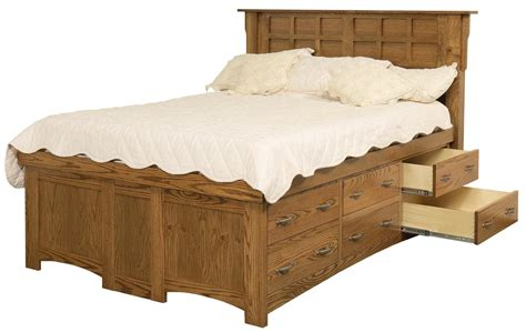 amish arts and crafts solid wood pedestal bed with 12 drawers by daniel s amish wolf