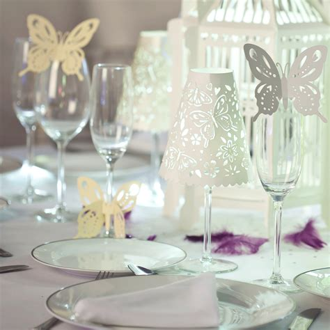flutterby wine glass stem decorations white hanging