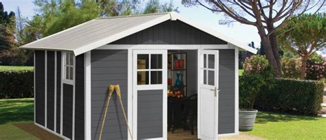abri jardin en pvc grosfillex deco 11 pvc shed grey