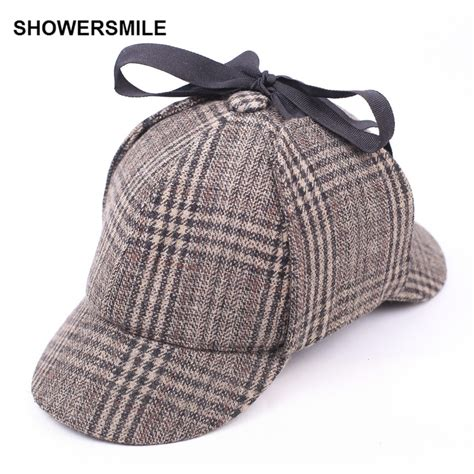 showersmile sherlock hat deerstalker tweed cap