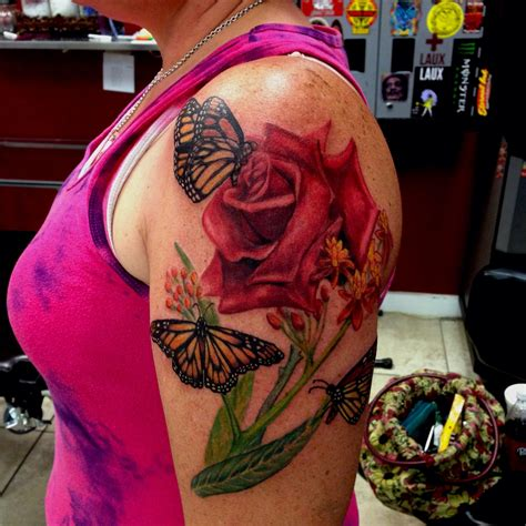 tattoo rose and butterfly and butterfly by mike ashworth tattoos by