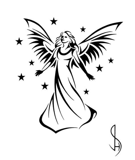 angel tattoo tribal simple sketch clipart best