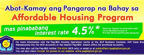 affordable housing program pag ibig affordable housing program interest rate 4 5