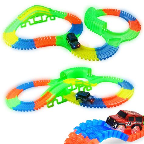 150 Pcs Diy Toys 300 150 pcs bend curve slot diy track set with glows in the track led light
