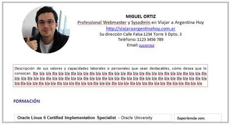 Modelo De Curriculum Vitae En Argentina Modelo De Cv Para Trabajar En Argentina Viajar A Argentina Hoy