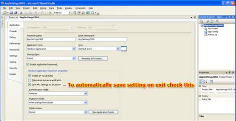 reset visual studio 2005 settings application settings in vb net 2 0 and visual studio 2005