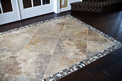 Entryway Rugs For Hardwood Floors by This Custom Tile Inset On The Hardwood Floors In
